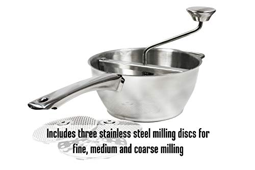 Weston Stainless Steel Food Mill (61-0101-W), 2 Quart Capacity, 3 Milling Discs, Dishwasher Safe