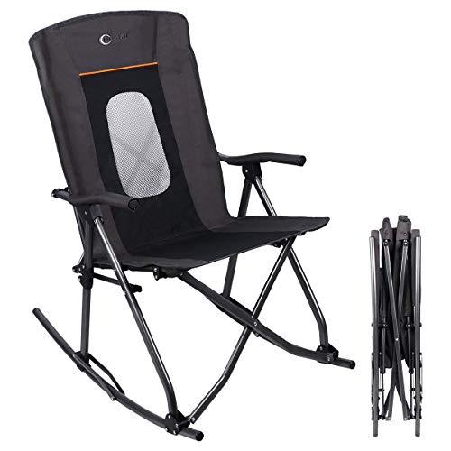 PORTAL Folding Rocking Chair Portable Oversized High Mesh Back Patio Lounge Camp Rocker, Support 300lbs
