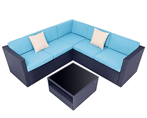 SOLAURA Outdoor Patio Furniture 4 Pieces Conversation Set All Weather Black Wicker Sectional Sofa Set with Light Blue Cushions and Sophisticated Glass-Top Coffee Table