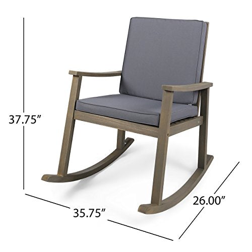 Great Deal Furniture 304649 Caspar | Outdoor Acacia Wood Rocking Chair with Cushion Dark Grey, Finish