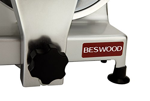 "BESWOOD 10"" Premium Chromium-plated Carbon Steel Blade Electric Deli Meat Cheese Food Slicer Commercial and for Home use 240W BESWOOD250"
