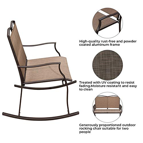 Patio Loveseat Bench, Glider Swing Rocking Chair with Steel Frame for 2 Persons