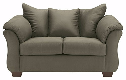 Ashley Furniture Signature Design - Darcy Love Seat - Contemporary Style Microfiber Couch - Sage