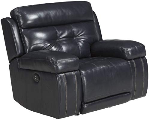 Ashley Furniture Signature Design - Graford Leather Power Recliner w/Adjustable Headrest - Contemporary - Navy