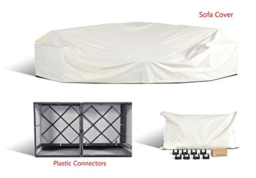 Gotland 6-Piece Outdoor Furniture Sectional Sofa & Glass Coffee Table,with Washable Sand Color Cushions for Backyard,Pool,Patio| Incl. Dust Cover(No Back Rope)