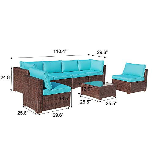 OC Orange-Casual Outdoor Sectional Sofa 7-Piece Wicker Furniture Set with Turquoise Seat Cushions, Glass Coffee Table & Single Sofa Chair