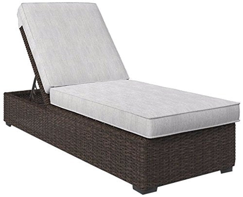 Ashley Furniture Signature Design - Alta Grande Outdoor Chaise Lounge with Cushion - Adjustable - Beige & Brown
