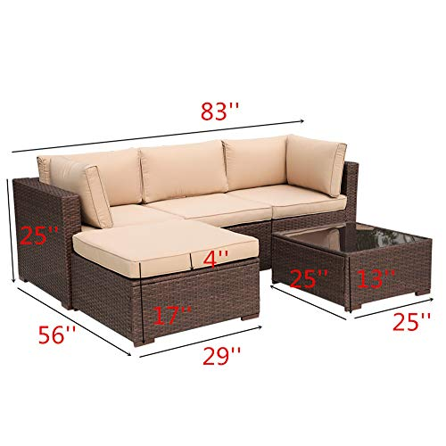 Patiorama Outdoor Furniture Sectional Sofa Set (5-Piece Set) All-Weather Brown PE Wicker with Beige Seat Cushions &Glass Coffee Table| Patio, Backyard, Pool| Steel Frame