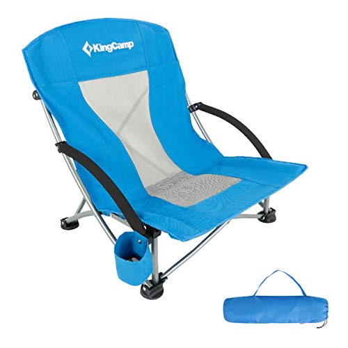 KingCamp Low Sling Beach Camping Folding Chair with Mesh Back (Blue)