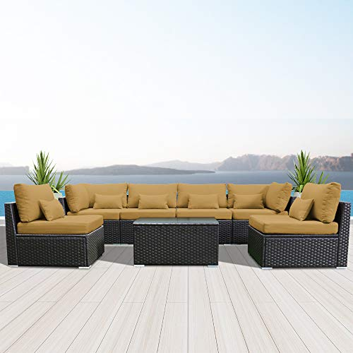 Modenzi 7G-U Outdoor Sectional Patio Furniture Espresso Brown Wicker Sofa Set (Dark Beige)