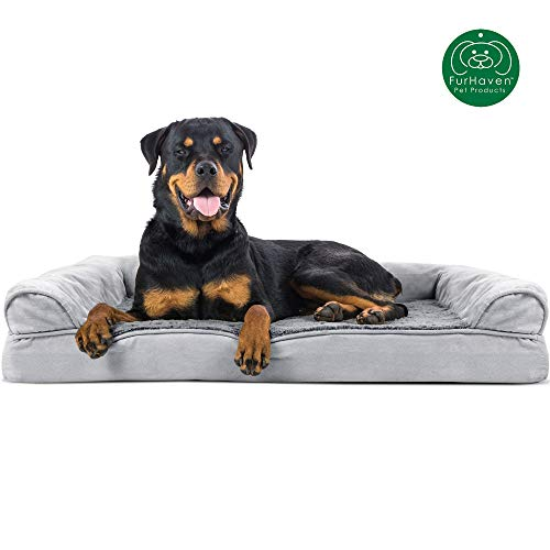 Furhaven Pet Dog Bed | Orthopedic Ultra Plush Faux Fur & Suede Sofa-Style Living Room Couch Pet Bed for Dogs & Cats, Gray, Jumbo