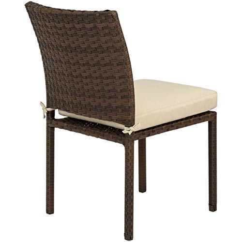 Best Choice Products Set of 4 Stackable Outdoor Patio Wicker Chairs with Cushions, UV-Resistant Finish, and Steel Frame, Brown