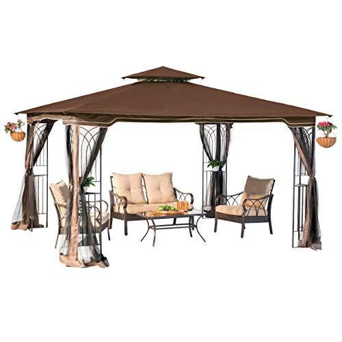 Sunjoy L-GZ798PST-E Regency II Gazebo with Mosquito Netting