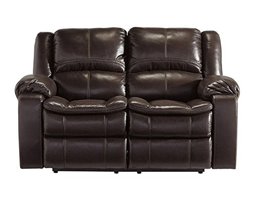 Signature Design by Ashley 8890586 Long Knight Collection Reclining Loveseat, Brown, Manual