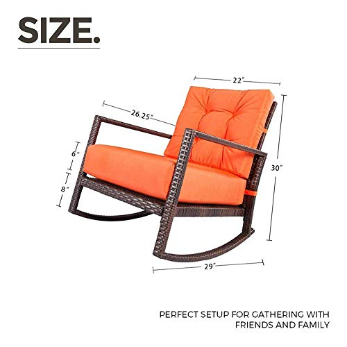 SUNCROWN Outdoor Furniture Vibrant Orange Patio Rocking Chair All-Weather Wicker Seat with Thick, Washable Cushions, Backyard, Pool, Porch, Smooth Gliding Rocker with Improved Stability