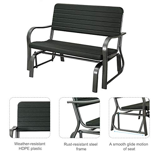 Giantex Swing Glider Chair Patio Steel Porch Chair Loveseat Bench for 2 Person, Rocking Glider Bench Seating