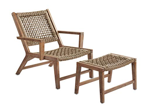 Sunset Garden SG65 | Sedona Outdoor Chair with Ottoman | Real Wood & Rope Weave Design, Ivory Brushed