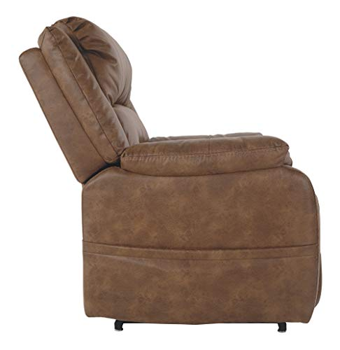 Ashley Furniture Signature Design - Yandel Power Lift Recliner - Contemporary Reclining - Faux Leather Upholstery - Saddle