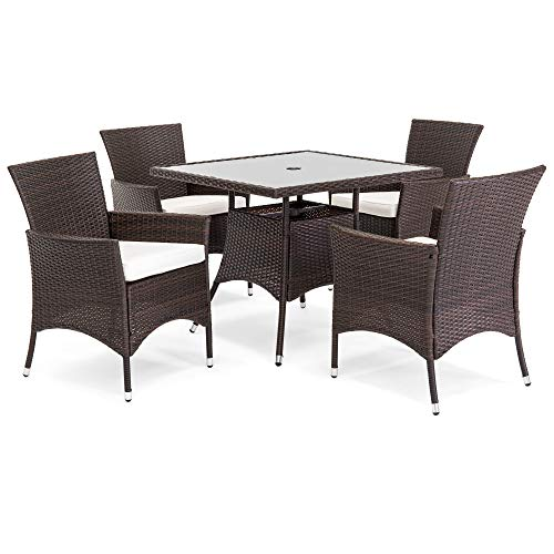 Best Choice Products 5-Piece Indoor Outdoor Wicker Patio Dining Set Furniture with Square Glass Top Table, Umbrella Cut Out, 4 Chairs, Brown