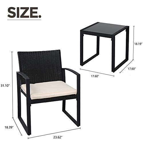 SUNCROWN Outdoor Bistro Set 3 Piece Black Wicker Chairs with Glass Top Table All-Weather Wicker Patio Furniture with Beige-White Cushions, Garden, Backyard, Porch or Pool