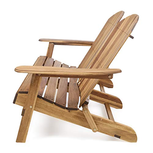 Great Deal Furniture 304032 Muriel Outdoor Natural Finish Acacia Wood Adirondack Loveseat, Stained