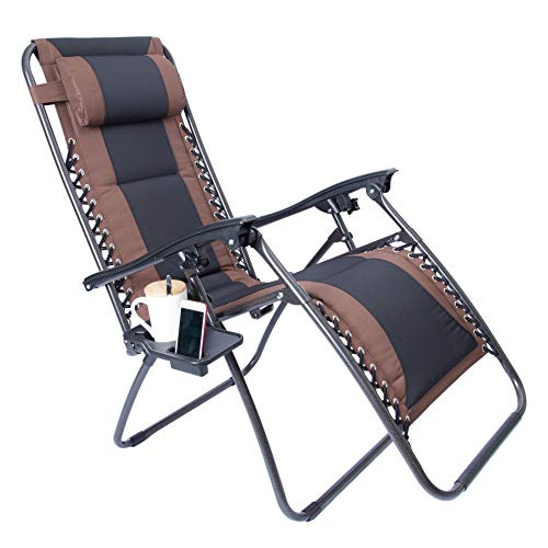 LUCKYBERRY Padded Zero Gravity Lounge Chair Patio Foldable Adjustable Reclining with Cup Holder for Outdoor Yard Porch Brown