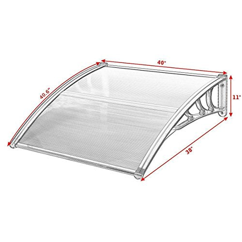 "Tangkula 40""x 40"" Window Awning Modern Polycarbonate Cover Front Door Outdoor Patio Canopy Sun shetter 3 Colors (Clear with Grey Edge)"