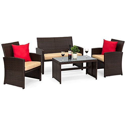 Best Choice Products 4-Piece Wicker Patio Conversation Furniture Set w/ 4 Seats, Table, Tempered Glass Tabletop, 3 Sofas, Weather-Resistant Cushions - Brown