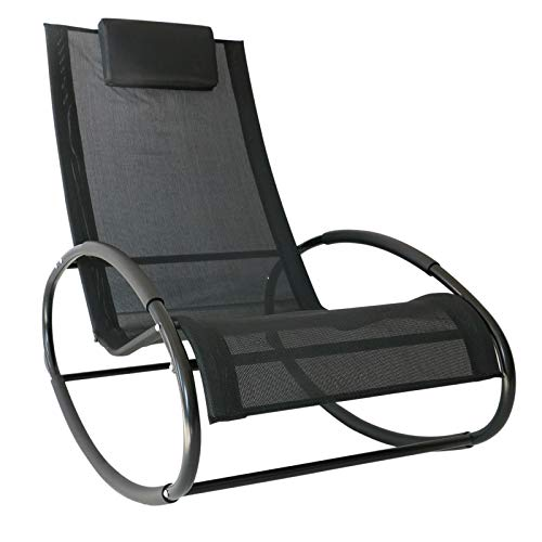 Outsunny Patio Rocking Lounge Chair Orbital Zero Gravity Seat Pool Chaise w/Pillow Black