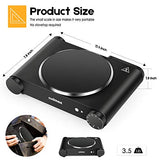Cusimax Portable Electric Stove, 1200W Infrared Single Burner Heat-up In Seconds, 7 Inch Ceramic Glass Single Hot Plate Cooktop for Dorm Office Home Camp, Compatible w/All Cookware - Upgraded Version