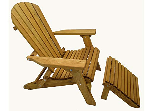 Kilmer Creek Folding Cedar Adirondack Chair W/ottoman Footstool & Stained Finish, Amish Crafted