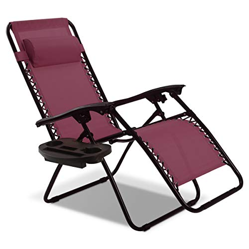 Goplus Folding Zero Gravity Reclining Lounge Chairs Outdoor Beach Patio W/Utility Tray (Wine)