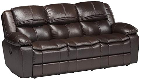 Signature Design by Ashley 8890588 Long Knight Collection Reclining Sofa, Brown, Manual