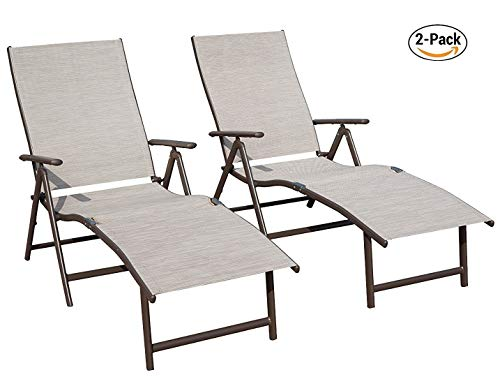 Kozyard Cozy Aluminum Beach Yard Pool Folding Reclining Adjustable Chaise Lounge Chair (2, Beige)