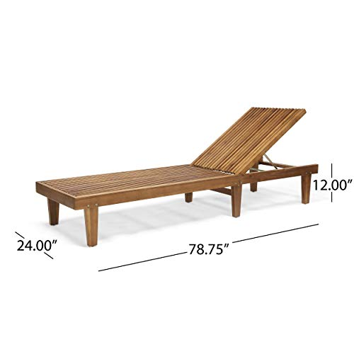 Addisyn Outdoor Wooden Chaise Lounge (Set of 2), Teak Finish