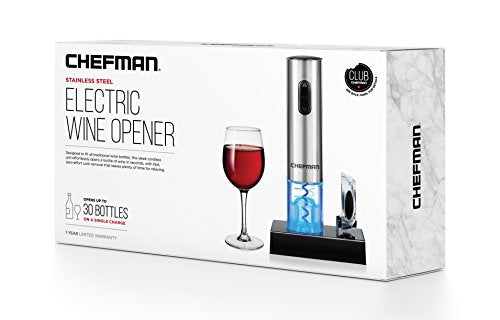 Chefman Electric Wine Opener with Foil Cutter, Automatic Corkscrew and Foil Remover, Stainless Steel, One Touch Wine Bottle Opener, Rechargeable 100-240V