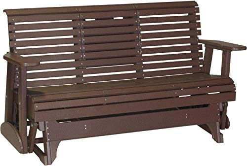 LuxCraft 5' Rollback Recycled Plastic Patio Glider with Flip Down Center Console