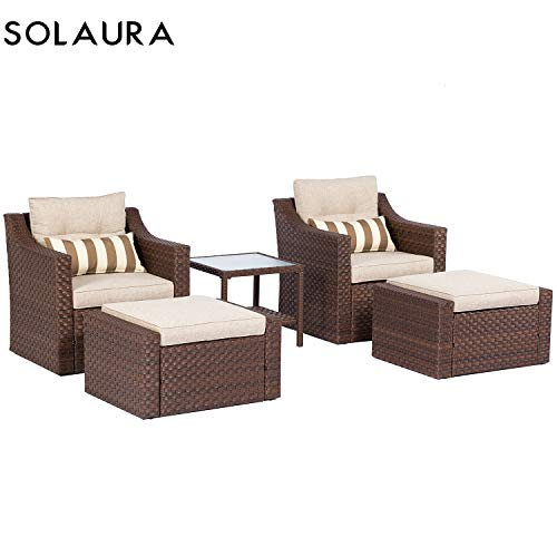 SOLAURA Sofa Sets 5-Piece Outdoor Furniture Set Brown Wicker Lounge Chair & Ottoman with Neutral Beige Cushions & Glass Coffee Side Table