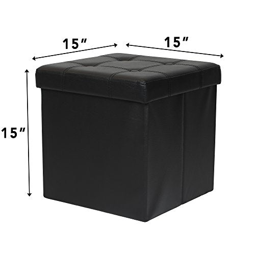 "Otto & Ben 15"" Storage Ottoman - Folding Toy Box Chest with Memory Foam Seat, Tufted Faux Leather Small Ottomans Bench Foot Rest Stool, Black"