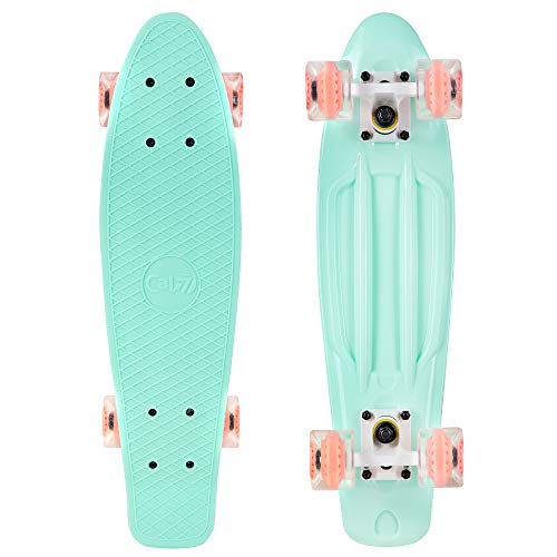 Cal 7 Complete Mini Cruiser | 22 Inch Micro Board | Vintage Skateboard for School and Travel (Arcadia)