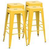 Furmax 30 Inches Metal Bar Stools High Backless Stools Indoor-Outdoor Stackable Kitchen Stools Set of 4 (Deep Yellow)