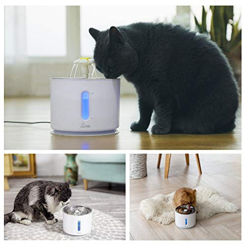 Cat Water Fountain Pet Fountain Stainless Steel Top, Cat Water Dispenser with 3 Replacement Filters and Cleaning Brushes, 2.4L Ultra Quiet Water Level Window with LED Light 3 Ways to Drink