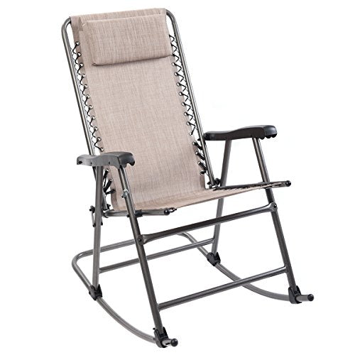 Timber Ridge Smooth Glide Lightweight Padded Folding Rocking Chair for Outdoor and Support up to 300lbs, Beige