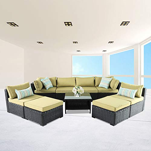VALITA Patio PE Wicker Furniture Set 9 Pieces Outdoor Black Rattan Sectional Conversation Sofa Chair with Olive Green Cushions