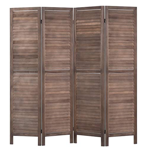 Rose Home Fashion RHF 4 Panel 5.6 Ft Tall Wood Room Divider, Wood Folding Room Divider Screens, Panel Divider&Room Dividers, Room Dividers and Folding Privacy Screens (4 Panel, Brown)