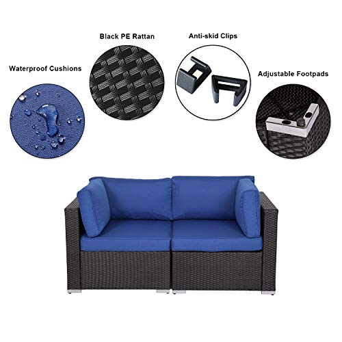 Kinbor Black Wicker Patio Loveseat 2 PCS Outdoor Garden Furniture Set Rattan Corner Sofa with Thick Dark Blue Cushions
