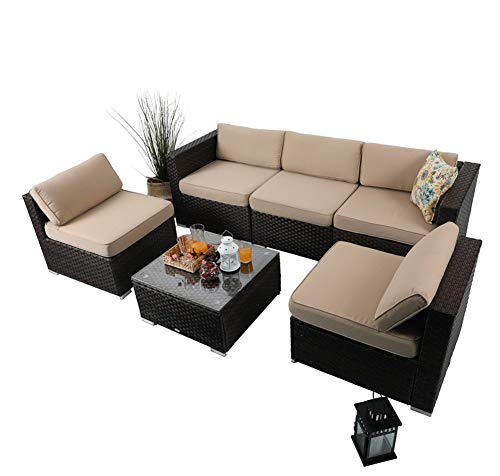 PHI VILLA Outdoor Sectional Rattan Sofa - Wicker Patio Furniture Set (Beige-6 Pieces)