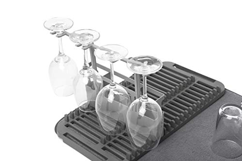 Umbra UDRY Drying Rack and Microfiber Dish Mat with Stemware Holder and Utensil Caddy-Space-Saving Lightweight Design Folds Up for Easy Storage, 24 x 18 inches, Charcoal