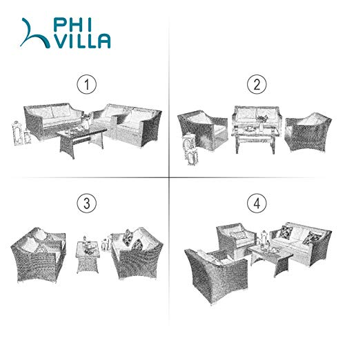 PHI VILLA 4-Piece Conversation Set Outdoor Wicker Patio Furniture Set- Hand Woven Rattan with Upgraded Design, Dyed Spun Polyester Fabric for Cushions, Tempered Glass Top Coffee Table