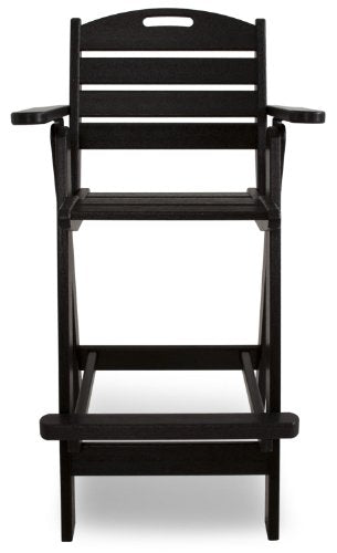 POLYWOOD NCB46BL Nautical Bar Chair, Black
